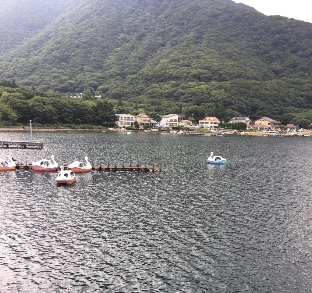 芦ノ湖のアヒルボート