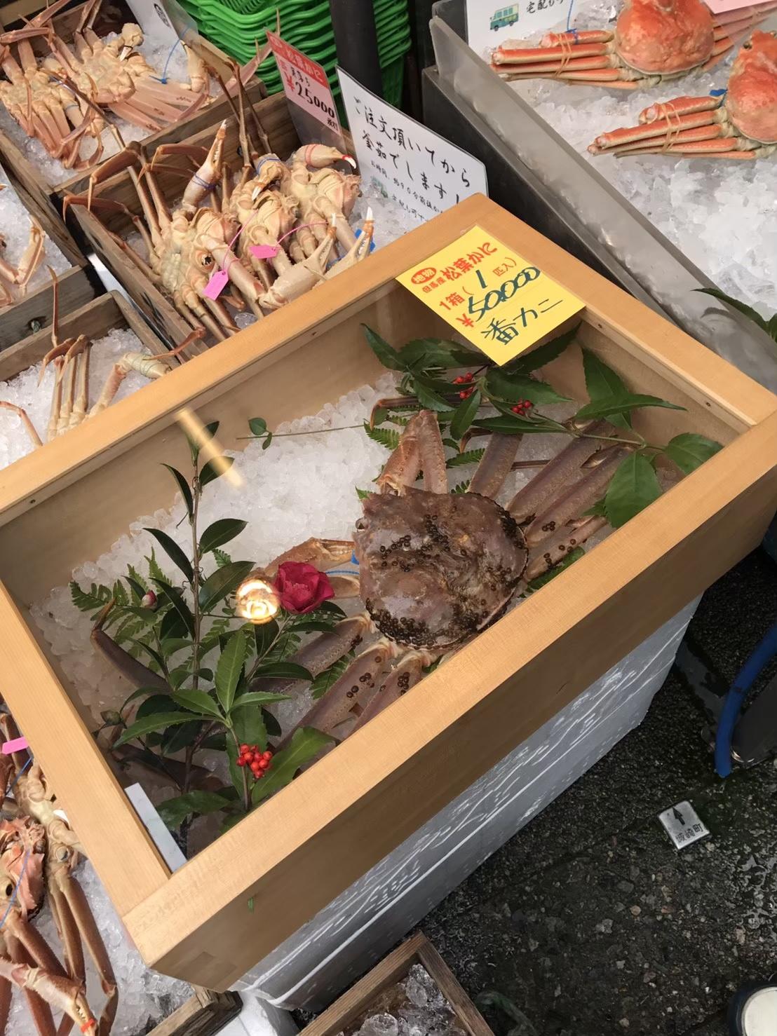 タグ付きのカニの価格例@城崎温泉の市場