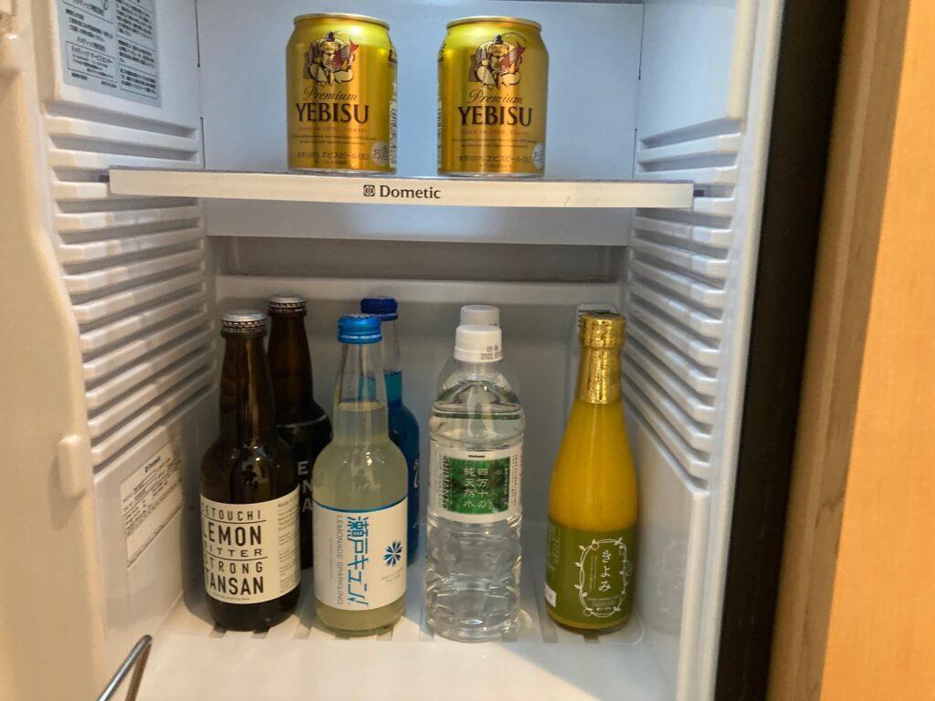 瀬戸内リトリート青凪のガーデンスイートの冷蔵庫内