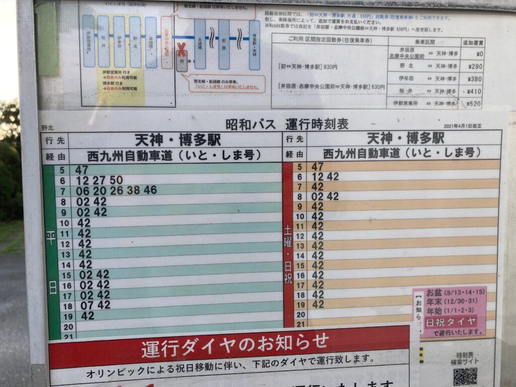 Currentから博多駅へ直行できる「野北」のバス停