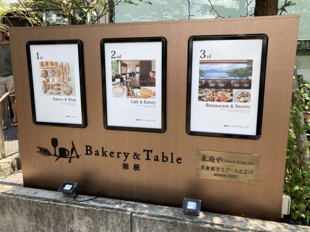 ベーカリーアンドテーブル箱根のフロアガイド