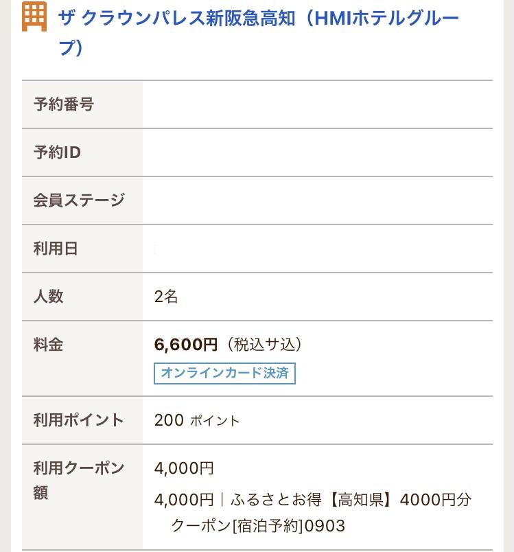 新阪急クラウンパレスホテルの宿泊費(4000円クーポン利用)